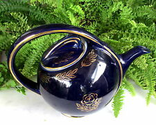 NICE ART DECO HALL AIR FLOW TEA POT COBALT BLUE W/ GOLD FLOWERS
