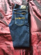 Mens Nudie Long John Twill Rinsed Jeans Size 31W-31L In Excellent Condition.
