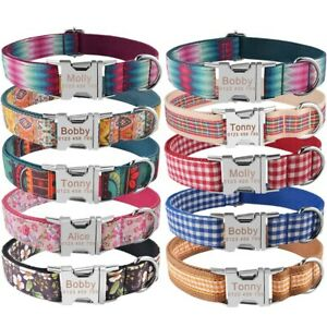 Personalized Dog Collar Durable Nylon Custom Engraved Boy Girl Dogs Puppy Name