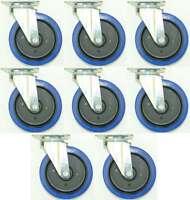 8 St. 200 mm SL Rollen Blue Wheels Lenkrollen Schwerlastrollen Transportrollen