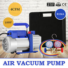 Vevor 4 CFM 1/4HP Air Vacuum Pump HVAC + R134A Kit AC A/C Manifold Gauge Great