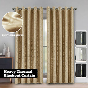 Hotel Quality Eyelet Door Window Geometric Pattern Blackout Curtains Ready Made