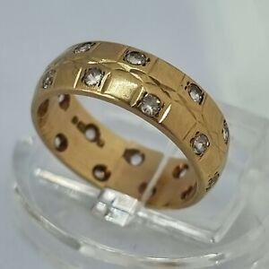 9ct Yellow Gold CZ Stone Ring Size I Hallmarked