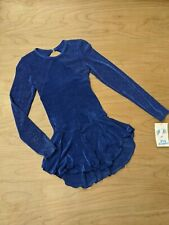 Body Wrappers Blue Glitter long Sleeves Cut Out back Skirted Ice Skate Dress 4-6