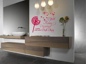 Chill, Relax, Unwind, Bathroom wall art vinyl decal sticker