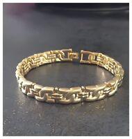 Bracelet Gourmette Homme Mat et Brillant En Plaqué or 18 Carats Bijoux