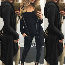 Gothic Women Ladies Cut Out Cardigan Long Ripped Back Hooded Hoodie Coat Sweater
