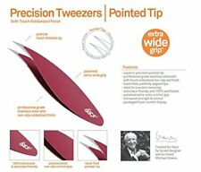 SLICE Stainless Steel, Non-Slip Precision Tweezers, Pointed, Red