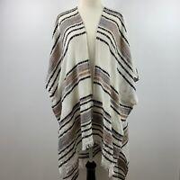 AEO Boho Woven tribal Frayed Edge Kimono long cardigan duster One Size