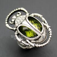 Egyptian Cleopatra khepri Scarab Beetle Emerald Gemstone Stretch Finger Ring