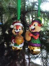 "DISNEY STORE CHIP N DALE JINGLE BELL CHRISTMAS HANGING ORNAMENTS"" NWT"
