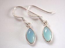 Very Small Blue Chalcedony Earrings 925 Sterling Silver Dangle Drop New