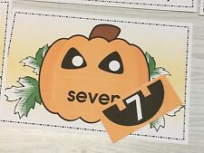 Jack O Lantern - Number Match Pumpkins - Laminated Activity - Teaching Supplies