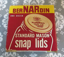 Vintage Canning Jar berNARdin Standard Mason Snap Lids Caps Rings NOS in Box!