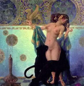Oil painting franz helbing - scheherazade nudes woman standing Hand painted