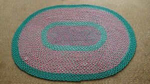 """Vintage Antique Hand Handmade Braided Rug 48"""" x 62"""" Oval Multi Color #8"""