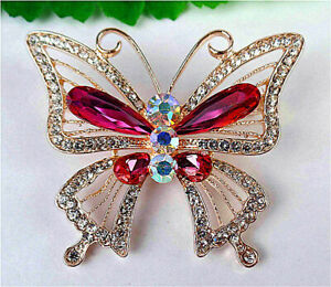 50x43x10mm Rose Brooch With Diamond Inlay In Alloy Butterfly Pendant AP18347