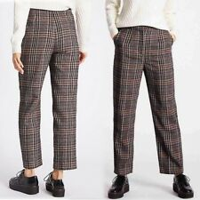 M&S High Rise STRAIGHT LEG Cropped TROUSERS with WOOL ~ 18 Reg ~ NAVY MIX Check