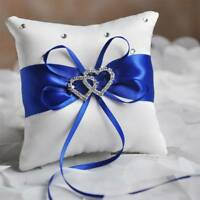 Double Heart Satin Ring Pillow Rhinestone Pillow Cushion For Wedding Party Decor