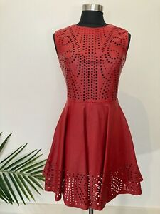 Shakuhachi Red Leather Dress Size Au 8 (Fits 8-10) Pre-loved Condition