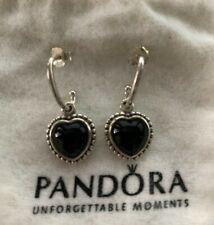 Retired Pandora Mi Amor Earrings 925 Sterling Silver Heart Black Onyx 290532ON