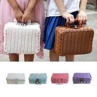Retro Wicker Women Handbag Suitcase Picnic Beach Straw Woven Rattan Basket Bags