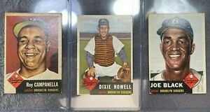 3-1953 TOPPS BROOKLYN DODGERS ROY CAMPANELLA #27 DIXIE HOWELL #255 JOE BLACK #81