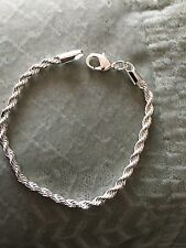 Women's 925 Sterling Silver Plated Rope Charms Bracelet Bangle