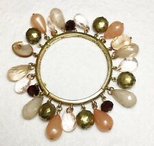 Vintage Stretch Bracelet Gold Plated Links Glass Mother-of-Pearl Acrylic Beads