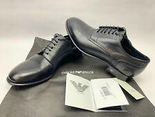 EMPORIO ARMANI Mens BROGUE DERBY X4C184 Leather LACE-UP Black DRESS SHOES Size 7