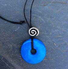 Turquoise howlite donut pendant Celtic spiral bead.Irish made Jewelry gift boxed