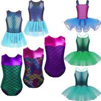 Kids Girls Sequins Mermaid Ballet Gymnastics Leotard Dance Tutu Dress Costume