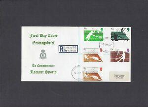 1977 Racket Sports RAF Bruggen FDC Forces Post Office 62 registered CDS. 1/125