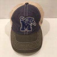 University Of Memphis Tigers Hat Cap Classic Blue / Tan Mesh Snapback