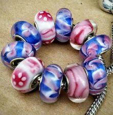 10P Blue Pink White ZigZag Flower Swirls Single Core European Murano Glass Beads