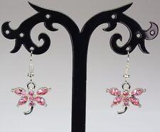 Pretty silver & pink rhinestone dragonfly earrings, silver-plated hooks