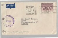1946 AUSTRALIA Air MAIL Cover to GERMANY  $1'6+CENSORSHIP Label+Cancel-J394