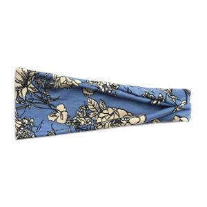 Fascia per capelli elastica donna 9 cm celeste beige kaki  floreale sportiva