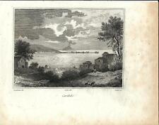 Stampa antica CARIDDI stretto di Messina Sicilia 1834 Old print Engraving