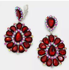 "3.25"" BIG Burgundy Long Dark Red Silver Crystal Rhinestone Clip On Earring"