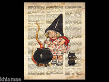 LITTLE WITCH 10 x 8 DICTIONARY WORD ART PRINT vintage wicca poster bos cat