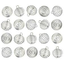 10pcs Platinum Toe Iron Wire Spiral Bead Cages Round Pearl Cage Pendanst 15x14mm