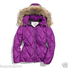 $428 COACH Women Down Real Fur Trim Hooded SHORT PUFFER Jacket Coat Parka F84047
