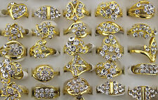 Wholesale Mixed Lot 50pcs Crystal Rhinestone Gold Plated women's Charm Rings