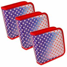 Setof3 Lenticular CD Case Wallet ColorChangin Red Stars Blue USA #CD24-R-012RS3#