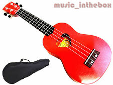 "Beautiful Red with Heart Hole - 21"" Soprano Wooden Ukulele & Carrying Bag"
