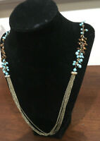 1980s/90s Vntg Estate Faux Turquoise/Bronze Beaded Multi-Strand Necklace.