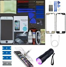 Apple iPhone 6S Replacement Screen Front Glass Repair Kit WHITE UV TORCH + FRAME