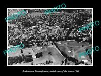 OLD HISTORIC PHOTO OF JENKINTOWN PENNSYLVANIA AERIAL VIEW OF THE TOWN c1940