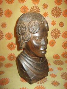 Ancienne SCULPTURE BUSTE d'AFRICAINE 25cm en BOIS 1,9kg signé RALAINDEVO Statue